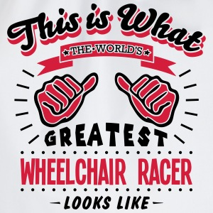 wheelchair racer worlds greatest looks l - Drawstring Bag