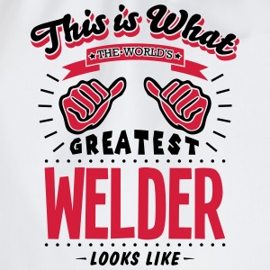welder worlds greatest looks like - Drawstring Bag