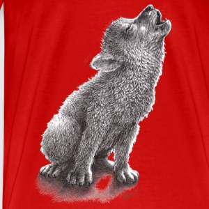 Ulf - Young Howling Wolf Topper - Premium T-skjorte for menn