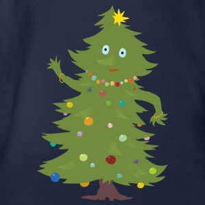 Navy Christmas Tree Shirts - Organic Short-sleeved Baby Bodysuit