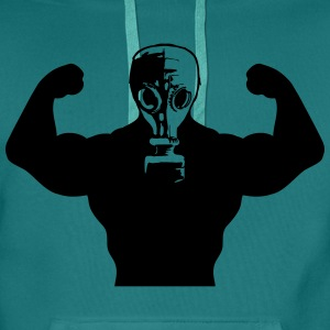 spieren Body Builders Gas Mask Protection groovy g T-shirts - Mannen Premium hoodie
