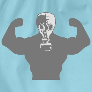 Muscles Body Builders Gas Mask Protection groovy g T-Shirts - Drawstring Bag