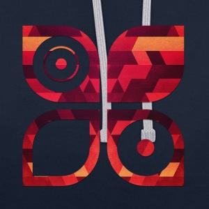 Abstract minimal geometry Hipster Art (Red Gold) Bolsas y mochilas - Sudadera con capucha en contraste