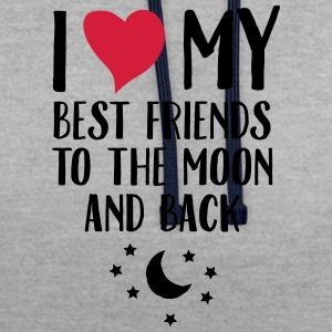I Love (Heart) My Best Friend To The Moon And Back T-shirts - Kontrastluvtröja