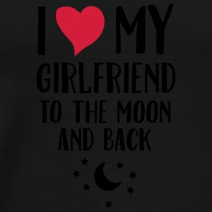 I Love (Heart) My Girlfriend To The Moon And Back Kubki i dodatki - Koszulka męska Premium