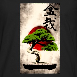 Bonsai against Japanese flag Art Print T-Shirts - Men's Premium Longsleeve Shirt