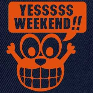 yes yessss weekend citation smiley Tee shirts - Casquette snapback