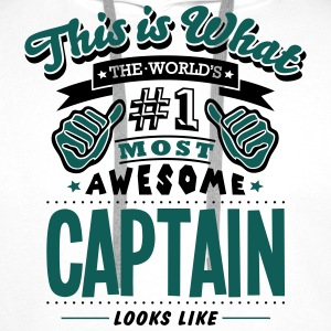 captain world no1 most awesome - Men's Premium Hoodie