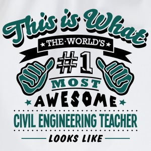 civil engineering teacher world no1 most - Drawstring Bag