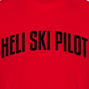 heli ski pilot stylish arched text logo premium ho - Men's T-Shirt