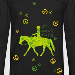 Love, Peace, Happiness Topper - Premium langermet T-skjorte for menn