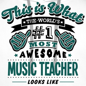 music teacher world no1 most awesome cop T-SHIRT - Men's Premium Hoodie