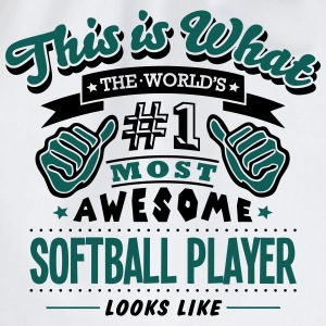 softball player world no1 most awesome c T-SHIRT - Drawstring Bag