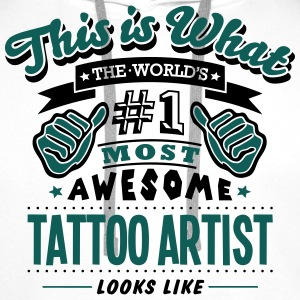 tattoo artist world no1 most awesome cop T-SHIRT - Men's Premium Hoodie