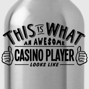 awesome casino player looks like pro des t-shirt - Water Bottle