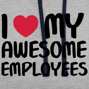 I Heart My Awesome Employees Camisetas - Sudadera con capucha en contraste