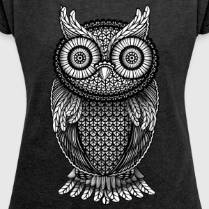 Heather Black Owl Eagle Owl Hoodies & Sweatshirts - Women's T-shirt with rolled up sleeves