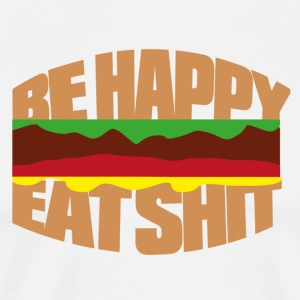 Hamburger be happy eat shit  Aprons - Men's Premium T-Shirt