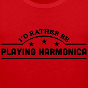 id rather be playing harmonica banner co t-shirt - Men's Premium Tank Top