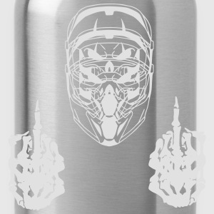 middle finger skull with helmet - Water Bottle