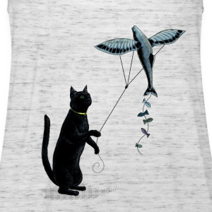 Cat with Flying Fish Kite T-Shirts - Women's Tank Top by Bella