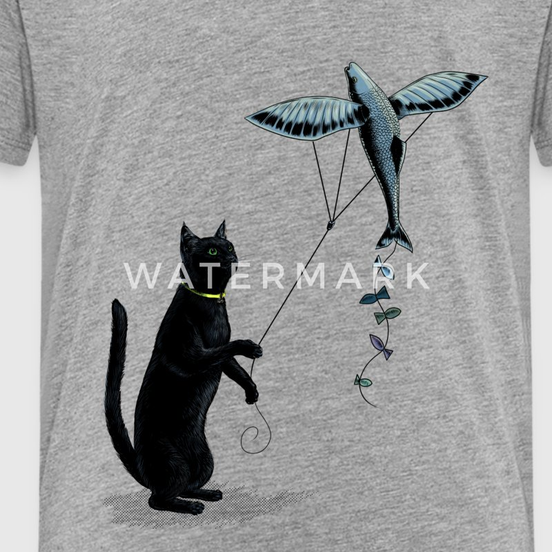 Cat with Flying Fish Kite Shirts - Kids' Premium T-Shirt