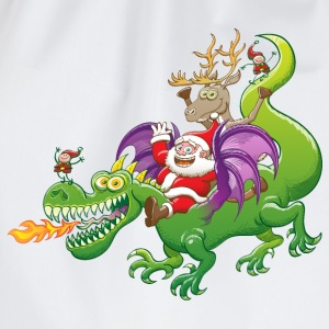 Santa Claus Changed his Reindeer for a Dragon Long sleeve shirts - Drawstring Bag