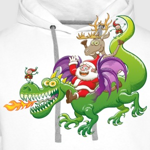 Santa Claus Changed his Reindeer for a Dragon Long sleeve shirts - Men's Premium Hoodie