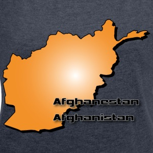 Afghanistan country map in 3D style Hoodies & Sweatshirts - Women's T-shirt with rolled up sleeves