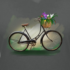Bicycle with flowers Toppar - T-shirt med v-ringning dam