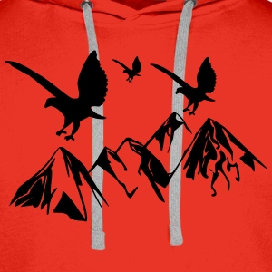 Birds fly over mountains - Men's Premium Hoodie