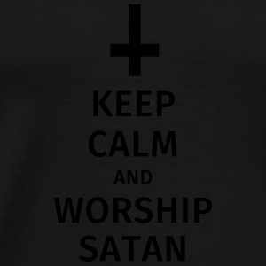 keep calm and worship satan Mokken & toebehoor - Mannen Premium T-shirt