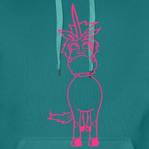 unicorn pink female girl female mare unicorn pony  T-Shirts - Men's Premium Hoodie