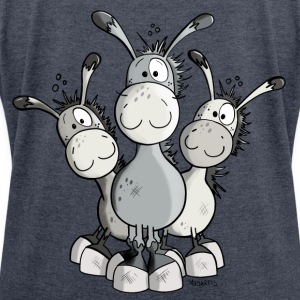 Three Cute Donkeys Hoodies & Sweatshirts - Women's T-shirt with rolled up sleeves