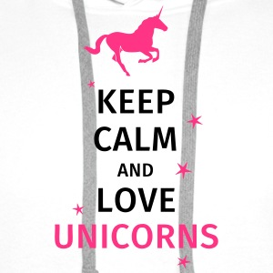 keep calm and love unicorn T-Shirts - Men's Premium Hoodie