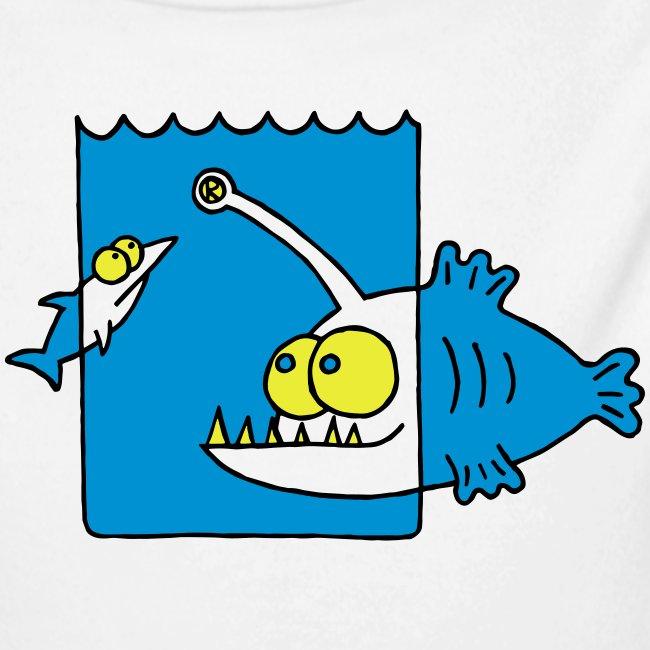 der Anglerfisch leuchtet den Weg, Lampe, angeln Langarmshirts