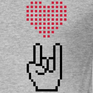 I Love Rock Pixel - Männer Slim Fit T-Shirt