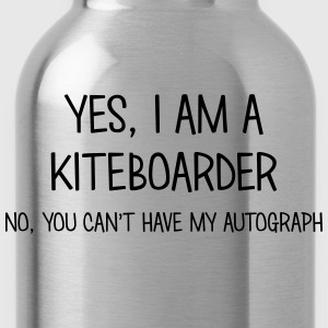 kiteboarder yes no cant have autograph t-shirt - Water Bottle