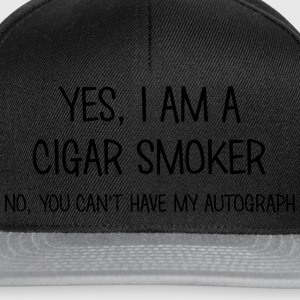 cigar smoker yes no cant have autograph t-shirt - Snapback Cap