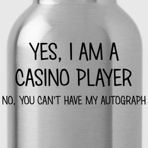 casino player yes no cant have autograph t-shirt - Water Bottle