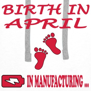Birth in april T-skjorter - Premium hettegenser for menn