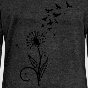 Löwenzahn, Vögel, dandelion, birds T-Shirts - Women's Boat Neck Long Sleeve Top