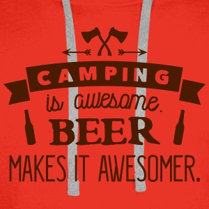 camping is awesome beer makes it awesomer T-shirts - Mannen Premium hoodie