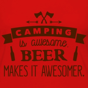 camping is awesome beer makes it awesomer T-shirts - Vrouwen Premium shirt met lange mouwen
