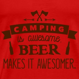 camping is awesome beer makes it awesomer Tops - Mannen Premium T-shirt