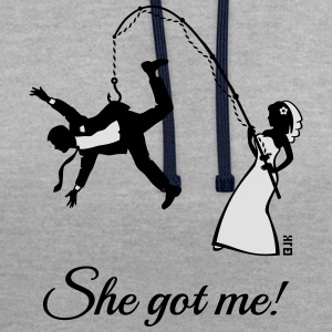 She Got Me! (Groom / Stag Party / Bachelor Party) T-Shirts - Contrast Colour Hoodie