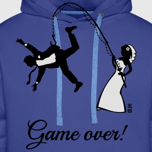 Game Over (Bride Fishing Husband) T-Shirts - Men's Premium Hoodie
