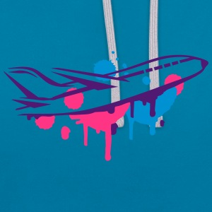 An airplane Graffiti Baby Bibs - Contrast Colour Hoodie
