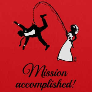 Mission Accomplished / Braut Angelt Ehemann T-Shirts - Stoffbeutel