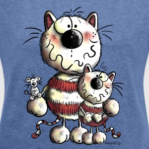 Funny Cat Family Hoodies & Sweatshirts - Women's T-shirt with rolled up sleeves